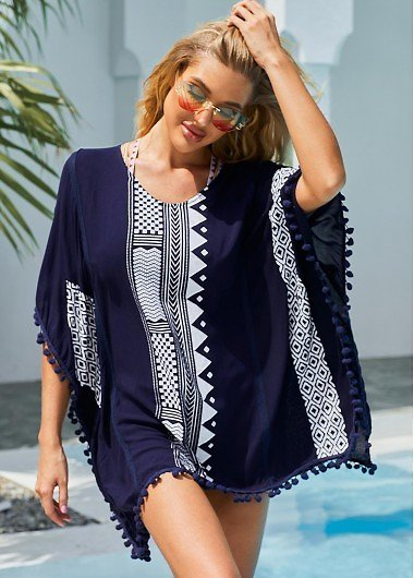 ROTITA Geometric Print Pom Pom Cover Up | Rotita.com - USD $33.99