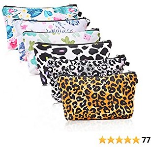 Cosmetic Bags for Women, Ftuency 6 Pieces Functional Small Makeup Bags Travel Set Organizer Toiletry Pouch (Leopard and Flower)