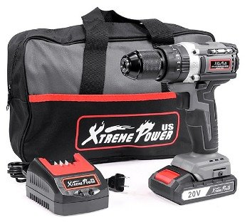 XtremepowerUS 20V Cordless Drill Brushless Driver 2000mAh 20+3 Torque, 336 In-lbs Torque,tra Fast Charger 2.0A Carrying Bag