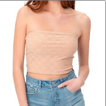 Made By Olivia Women's Solid Textured Knit Eyelet Bandeau Tube Top