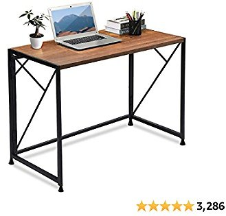 ComHoma Computer Desk 39 Inch Office Folding Desk Modern Simple Writing Desk Space Saving Foldable Desk, No Assembly Required, Brown