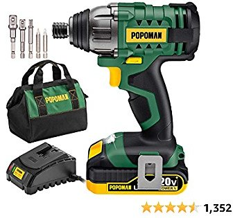 Impact Driver, 1600In-lbs 20V MAX Impact Drill, 2000mAh Battery, 60-Min Fast Charger 2A, 1/4