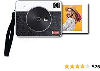 "Kodak Mini Shot 3 Retro 3x3"" Portable Wireless Instant Camera & Photo Printer, Compatible with IOS, Android & Bluetooth, Real Photo HD 4Pass Technology & Laminated Finish, Premium Quality – White"