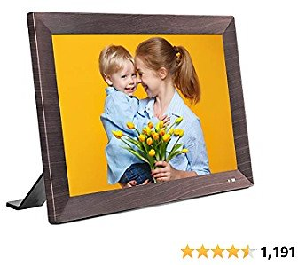 VANKYO WiFi Digital Picture Frame, 10.1 Inch HD Touch Screen, Instant Share Photos and Videos via Free App, Email, Cloud from Anywhere, Motion Sensor, 16GB Storage, Music, Auto-Rotate, Wood-Effect