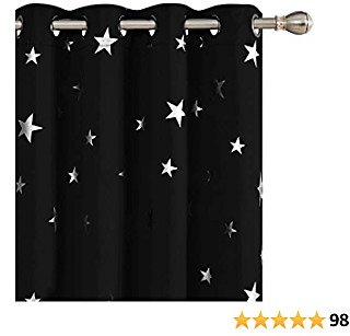 Deconovo Solid Thermal Insulated Blackout Curtains for Bedroom with Silver Star Pattern 52 X 63 Inch Black 1 Pair