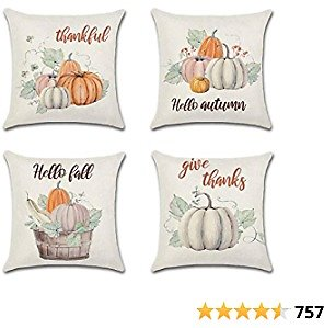 Korlon 4 Pcs Thanksgiving Fall Pillow Covers 18x18, Holiday Decorative Pumpkin Outdoor Pillow Covers for Fall Decor