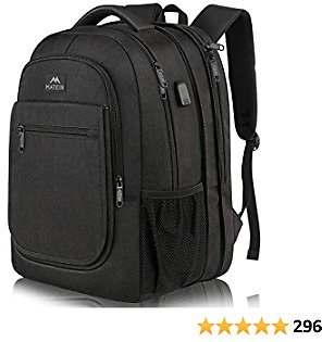 Expandable Laptop Backpack with USB Charging Port, Large Anti Theft Business Computer Bag