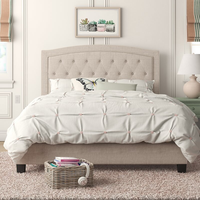 Pascal Solid Wood Tufted Upholstered Low Profile Standard Bed