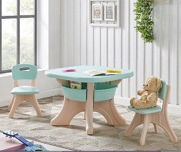 Kids Table and Chairs Play Set Tutors with Center Storage Bin By Kidzilla