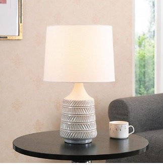 Mainstays White/Beige Ceramic Table Lamp with Shade 17