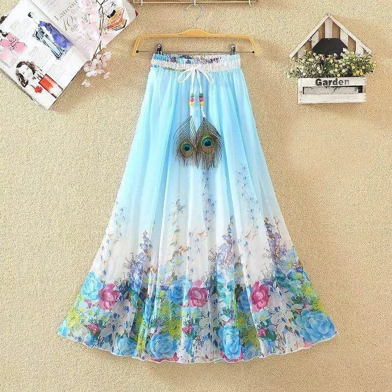 40% OFF Summer Beach Skirts Womens Floral Print Mid Length Skirt with Peacock Feathers Chiffon Clothes