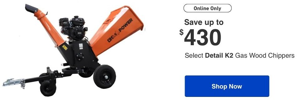 Up to $430 Off Detail K2Gas Wood Chipper