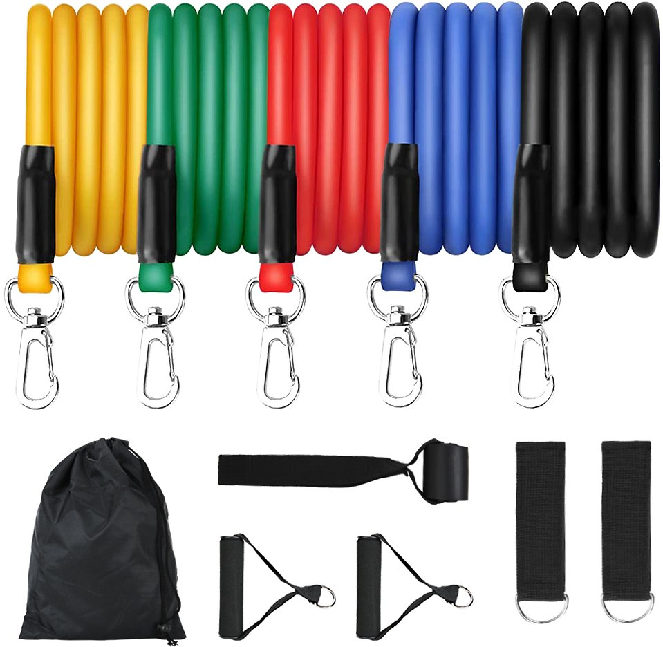 Resistance Bands Set with Handles and Carrying Bag - 5 Exercise Bands for Portable Home Gym