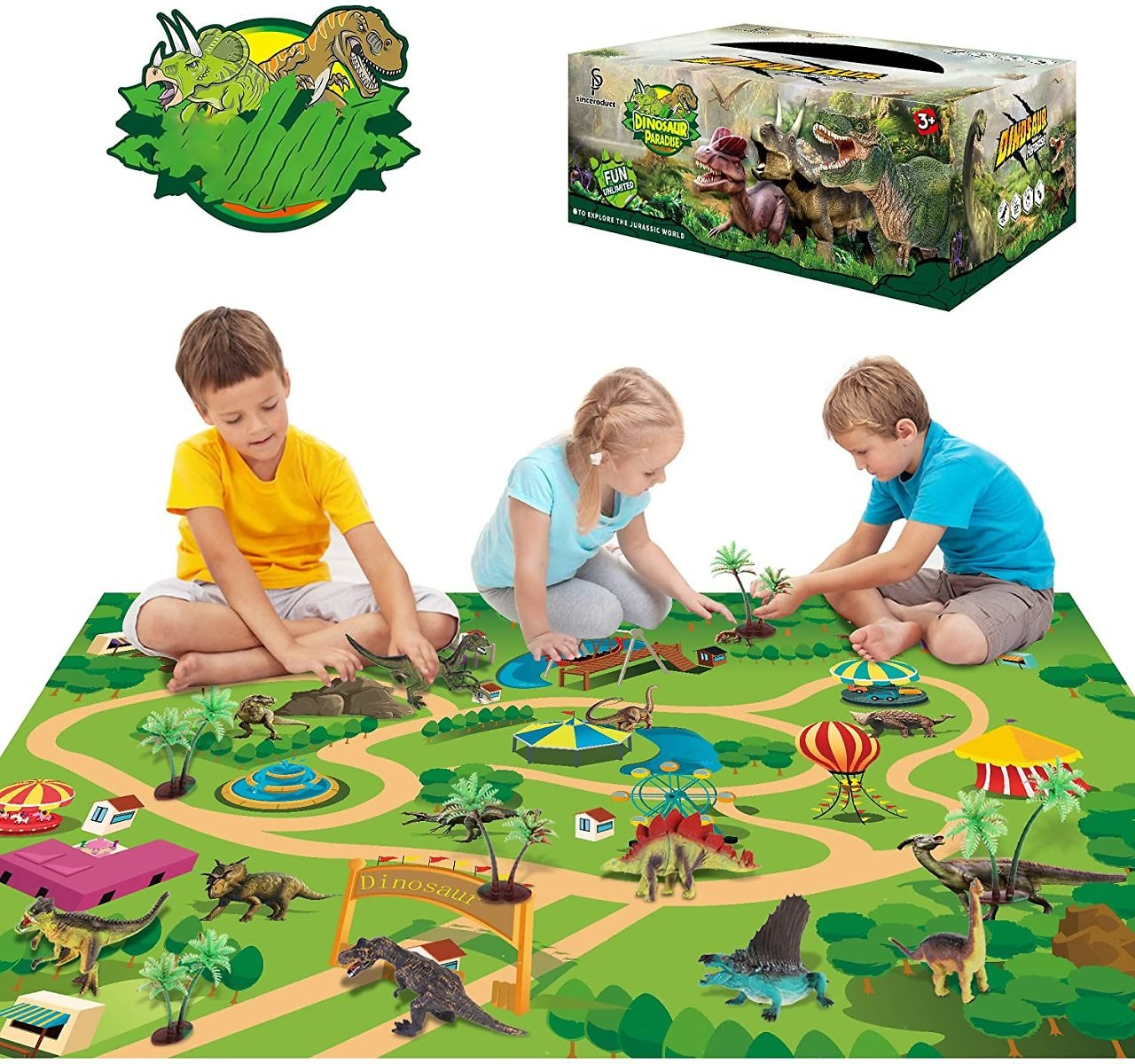 Sinceroduct Dinosaur Toys Activity Play Mat 47.2 X 31.5 in - 13 Realistic Dinosaur Figures Playset to Create a Dino World