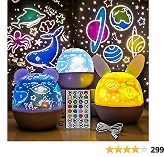 Rechargeable Star Projector Night Light for Kids with Timer and Remote Control, 3 Appearances 5 LEDs 20 Colors, Rotation Lamp