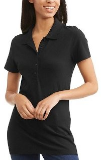 Time and Tru Women's Essential Short Sleeve Polo T-Shirt