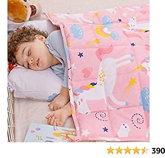 Wemore Kids Weighted Blanket 3 Lbs 36 X 48 Inches,100% Natural Cotton and Premium Glass Beads Heavy Weight to Relax and Stimulate Quality Sleep, Pink Unicorn