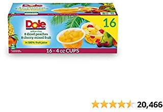 Dole Fruit Bowls, Diced Peaches and Cherry Mixed Fruit Variety Pack, 16 Count, 4 Ounce Cups