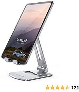 Lamicall Adjustable Tablet Stand Holder - Foldable Tablet Dock, 360 Degree Rotating Desktop Tablet Mount, Compatible with IPad Pro 11 / 12.9, Mini, Air, Tabs, Kindle and 4.7