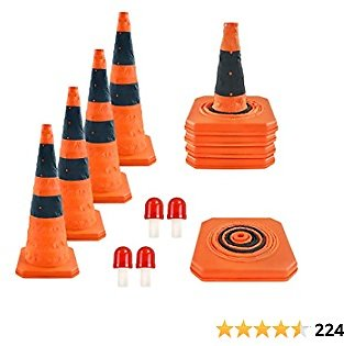 28 Inch Collapsible Traffic Cones with LED Light Multi Purpose Pop Up Reflective Safety Cones 4 Pack Orange