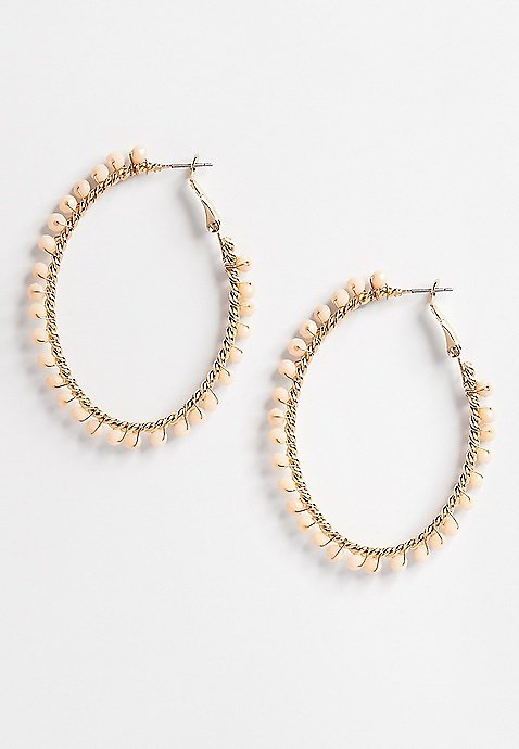 Cream Beaded Hoop Earrings