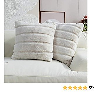 Cozy Bliss Set of 2 Faux Fur Fleece Throw Pillow Covers Luxury Super Soft Plush, Striped Cushion Cover Textured Decorative Pillowcases for Sofa Couch Bed Chair Car (Beige, 18