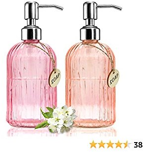 Hand Soap Dispenser Dish Soap Dispenser for Kitchen,Clear Glass Bottle Liquid Soap Pump Dispenser for Bathroom with Stainless Steel Pump for Hand Sanitizer, Essential Oil & Lotion, 2 Pack