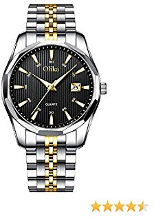 Olika Gold and Black Watches for Men, Quartz 50 M Waterproof Watches for Men, Casual Business Stainless Steel Band Noctilucous Men's Wristwatches
