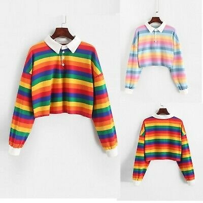 Women Rainbow Pastel Cute Cropped Long Sleeve T-Shirt Kawaii Stripes Crop Tops
