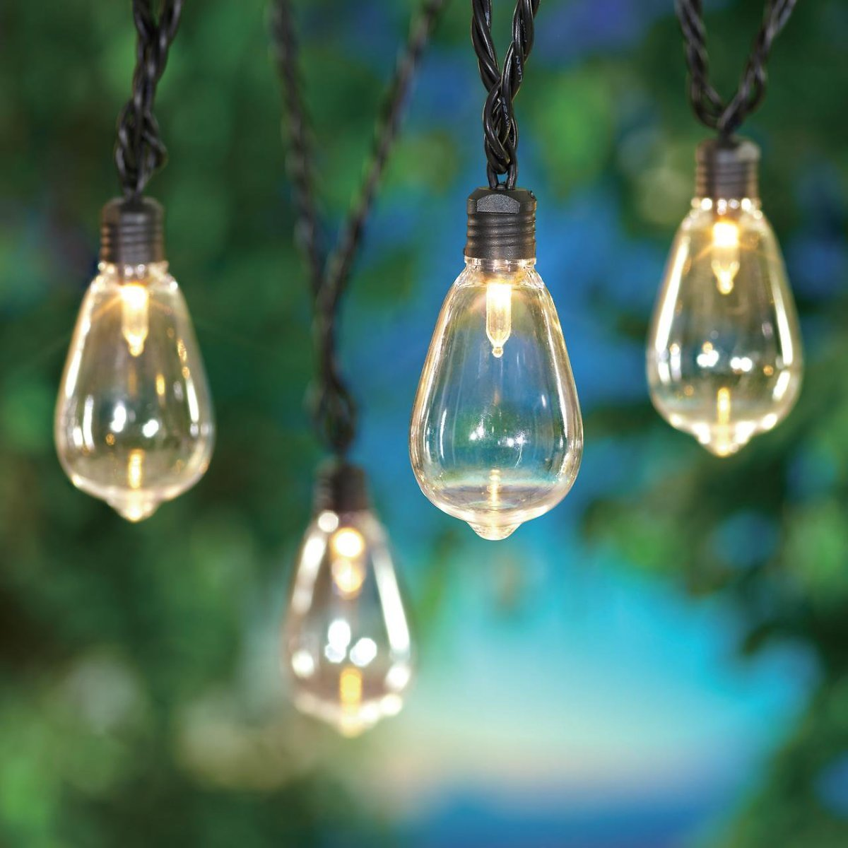 Mainstays 35-Count Outdoor LED Edison Bulb String Lights, with Black Wire and AC Plug-in