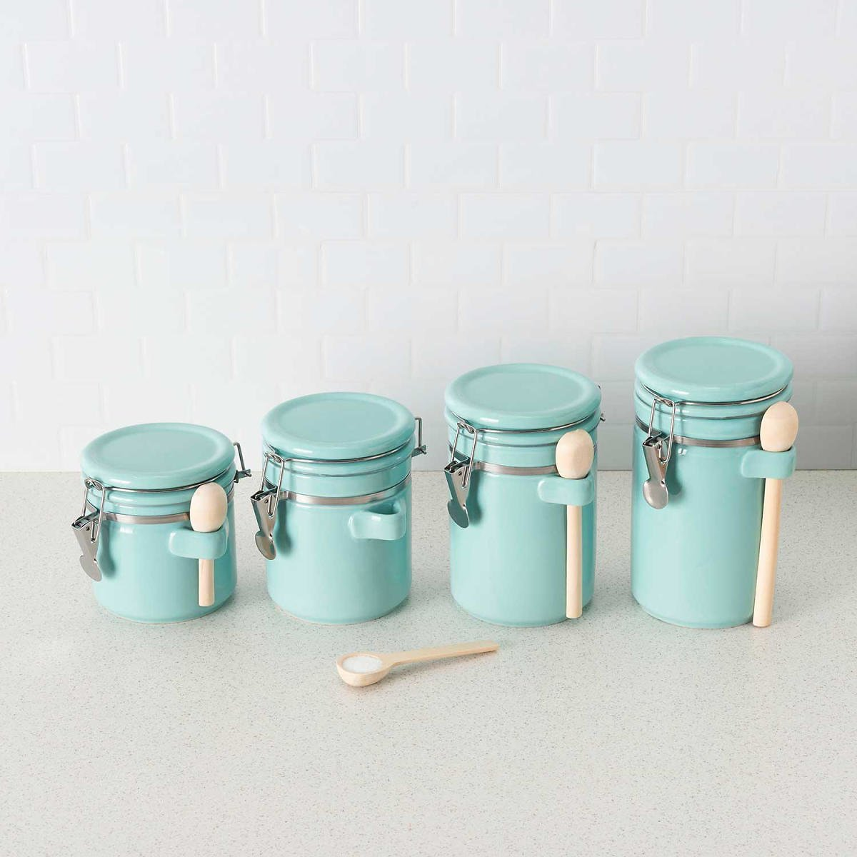 Ceramic Canisters with Air-Tight Clamp-Top Lids and Wooden Spoons, 4-Piece Set (Assorted Colors) - Sam's Club