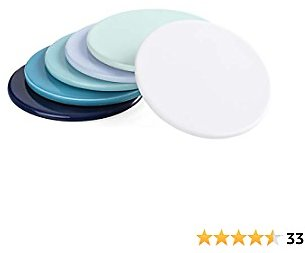 Sweese 246.003 Porcelain Coasters for Drink with Cork Back, Set of 6, Cool Assorted Colors