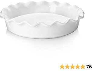 Teocera Porcelain Pie Pan for Baking, Pie Dish, Round Pie Plate with Ruffled Edge - 10.5 Inches for Apple Pie, Pot Pies - Set of 1, White