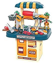BFUNTOYS 246 PCs Kids Toddlers Toy Tool Bench Set for 3 4 Year Old Boys and Girls, 2 in 1 Kids Construction Toy Workbench with Building Blocks, Electric Drill, STEM Building Puzzles Work Shop Gifts: Toys & Games