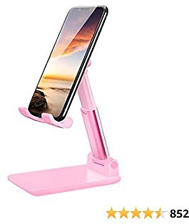 LOBKIN Cell Phone Stand for Desk,Foldable Adjustable Portable Pocket Tripod Cradle Dock for Desk, Desktop Computer Stand Compatible with IPhone 12 Pro Samsung Galaxy IPhone Stands and Holders(Pink)
