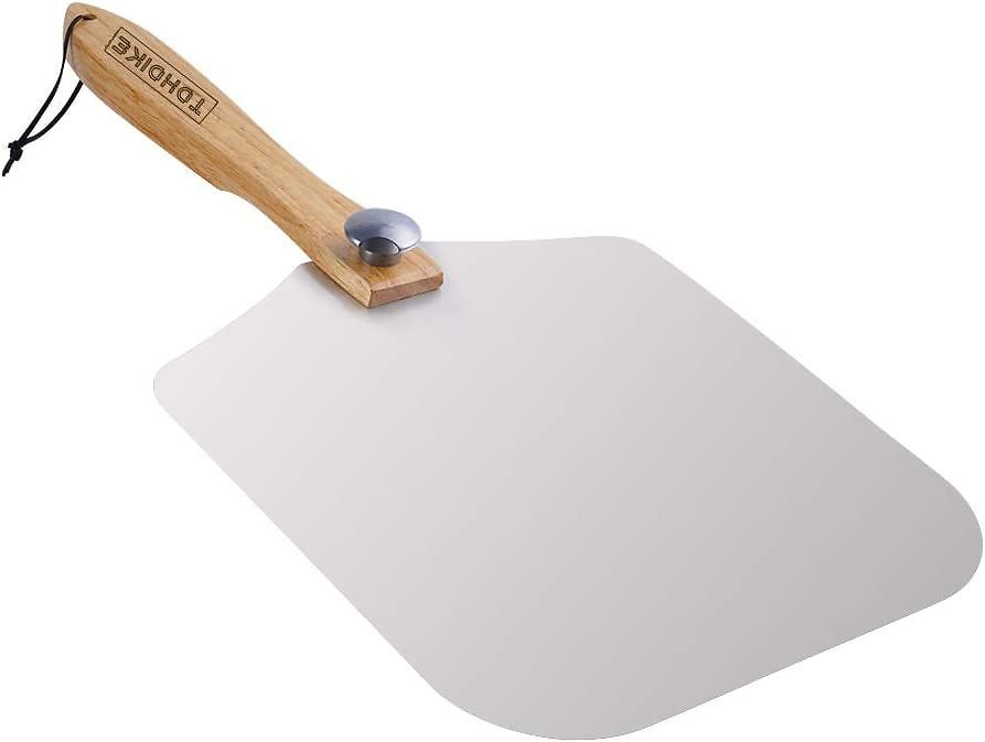 """Premium Aluminum Pizza Peel With Foldable Oaken Handle, 12"""" X 14"""", Convenient To Store, Good Helper For Baking, Homemade Pizza And Bread"""