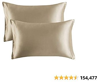 Bedsure Satin Pillowcase for Hair and Skin, 2-Pack - Queen Size (20x30 Inches) Pillow Cases
