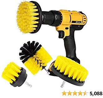 Original Drill Brush Kit Medium- Yellow All Purpose Cleaner Scrubbing Brushes for Bathroom Surface, Grout, Tub, Shower, Kitchen,