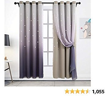 Hughapy Star Curtains Ombre Curtain for Kids Girls Bedroom - Tulle Overlay Star Cut Out Curtains Mix and Match Curtains for Living Room, Room Darkening Window Curtains, 1 Panel - (42W X 84L, Grey)