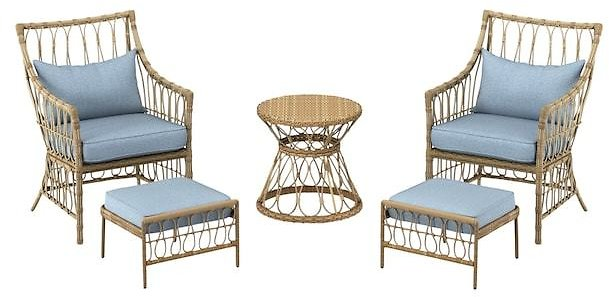 Style Selections 5-Piece Metal Frame Patio Conversation Set with Cushions