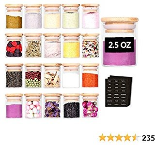 Tzerotone Spice Jar Set,2.5oz 20 Piece Glass Jar with Bamboo Airtight Lids and Labels, Mini Clear Food Storage Containers for Pantry, Kitchen Canisters for Tea, Herbs, Sugar, Salt, Coffee