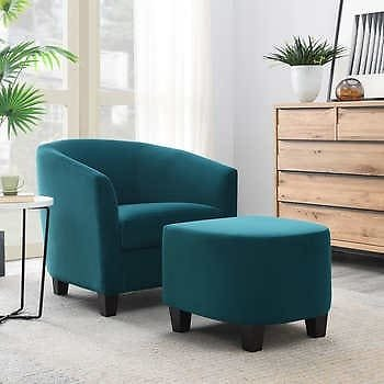 Alistair Barrel Accent Chair with Ottoman (2 colors)