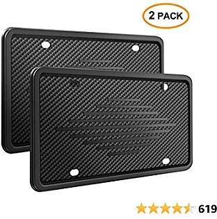 Intermerge License Plate Frame Holder - Universal American Auto Silicone License Plate Cover Rust-Proof,Rattle-Proof,Weather-Proof with 3 Drainage Holes Car Black License Plate Frame Black-2 Pack