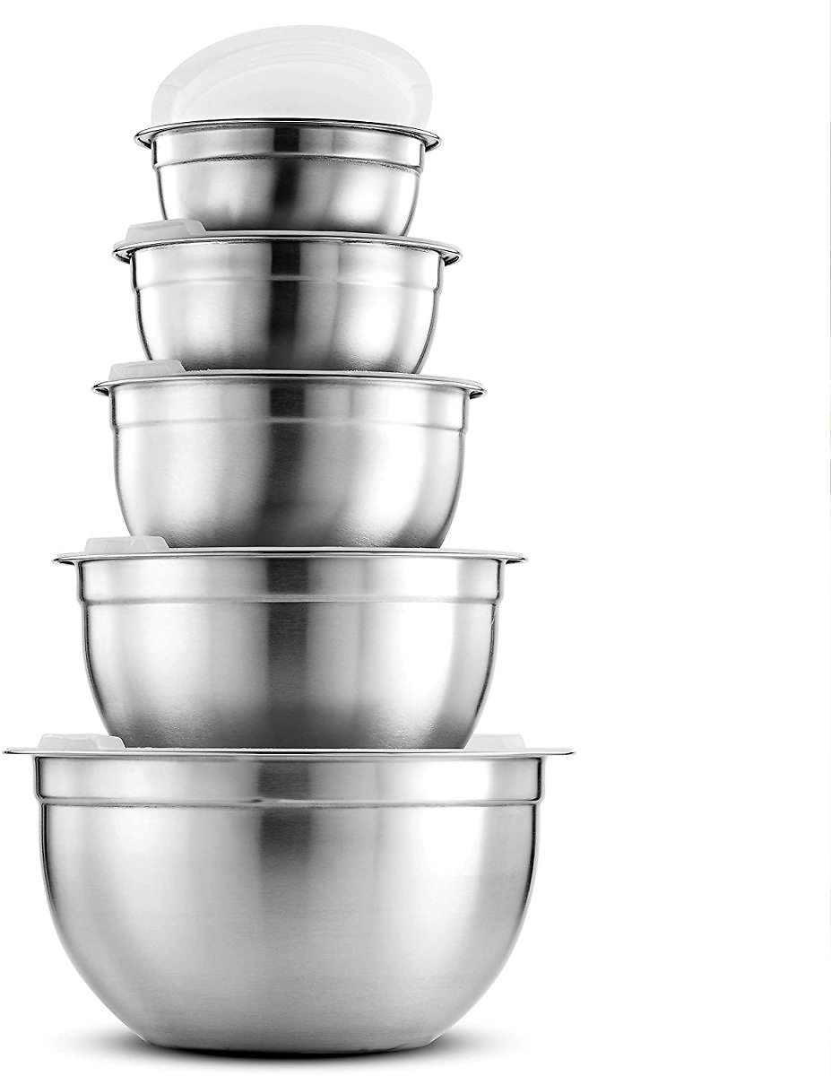 Premium Stainless Steel Mixing Bowls with Airtight Lids (Set of 5)