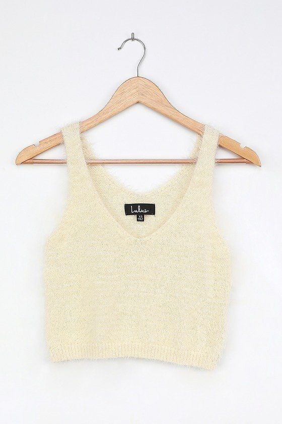 Road to Cozy Cream Fuzzy Cropped Tank Top