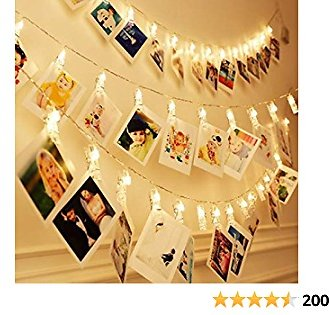40 LEDs 20 Photo Clips String Fairy Lights Battery Powered Decoration for Living Room Bedroom Indoor Christmas Party Wedding for Photo Picture Hanging Display,3AA Battery Operated (13ft Warm White)