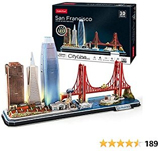 CubicFun 3D Puzzles for Adults Kids LED San Francisco Cityline Collection Model Kits, Lighting Architecture Toys Gifts for Women Men, Golden Gate Bridge, 555 California Street and Other SF Landmarks
