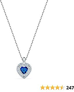 SWAROVSKI Women's One Heart Jewelry Collection, Rhodium Finish, Blue Crystals, Clear Crystals