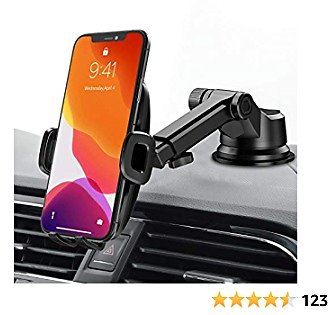 Car Phone Mount, Mpow Upgraded Dashboard Windshield Car Phone Holder with Washable Strong Sticky Gel Suction Cup, Compatible with IPhone 12 Pro Max 11 Pro Max XS XR, Galaxy Note 20 S20 S10 and More