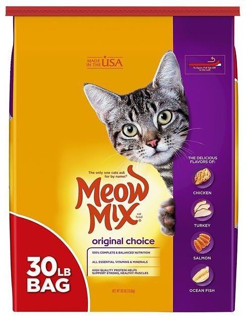 Voluntary Recall of Two Lots of Meow Mix Original Choice Dry Cat Food for Potential Salmonella Contamination
